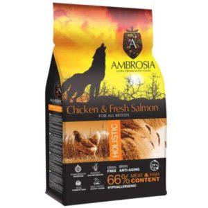 Sac de hrană uscată pentru câini Ambrosia Grain Free, Adult, Pui si Somon