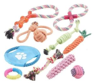 Set 10 jucării din sfoară pentru câini